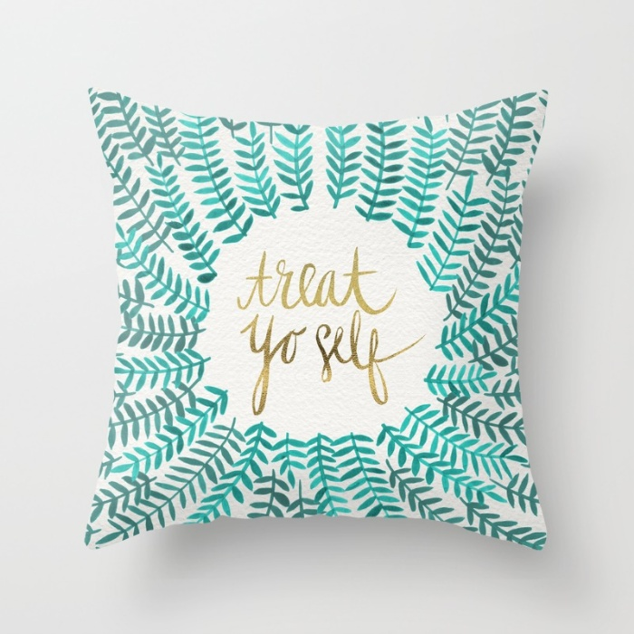 Treat Yo Self – Gold & Turquoise / Pillow • $20–$29