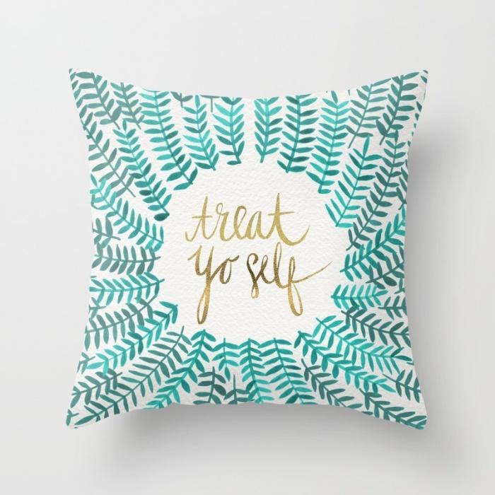 Treat Yo Self – Gold & Turquoise / Pillow • $20–$29
