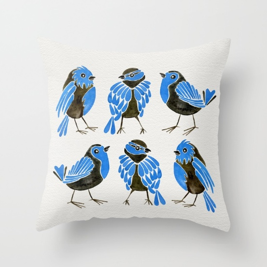 Blue Finches  •  throw pillow $20–$39