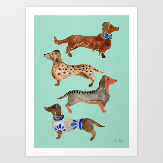 Dachshunds on Blue  •  art print $18–$65