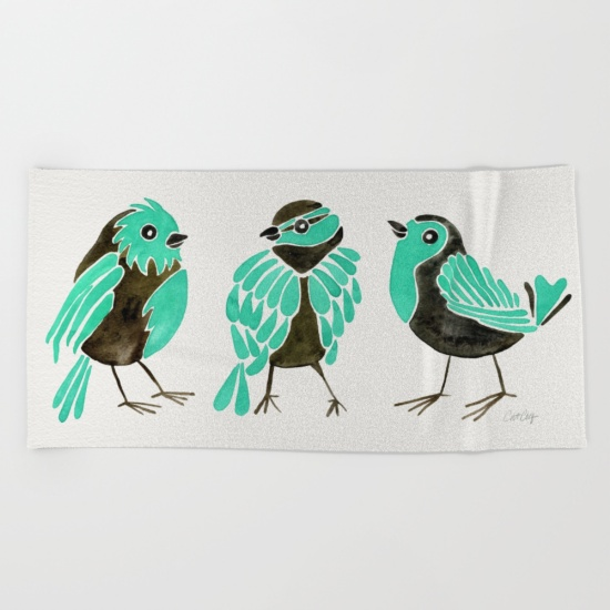 Turquoise Finches   •  beach towel $38