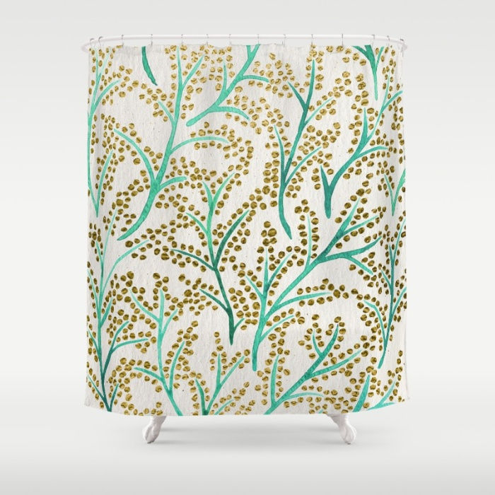 Green & Gold Branches shower curtain available  here .