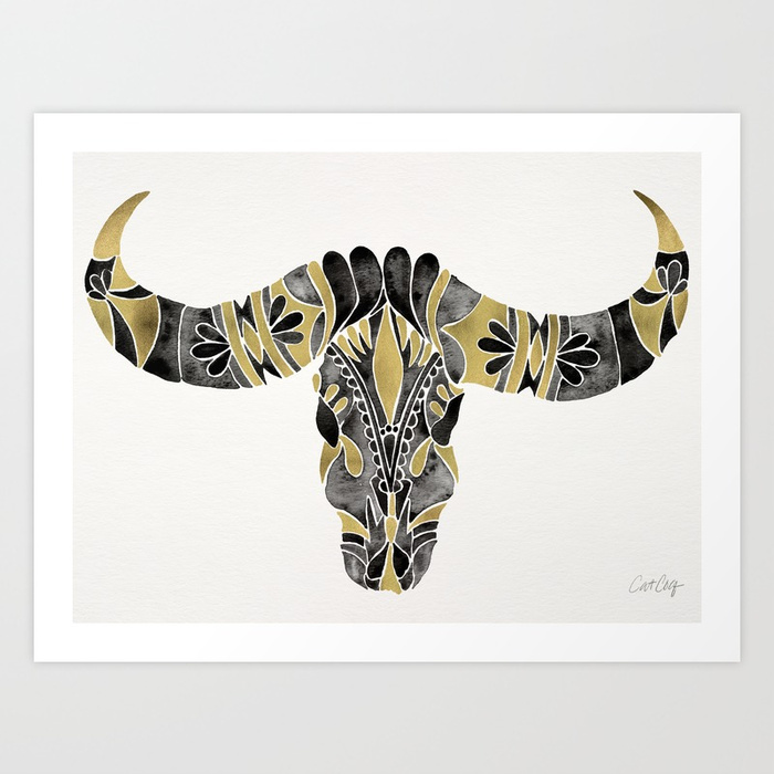 water-buffalo-skull-black-gold-palette-prints.jpg