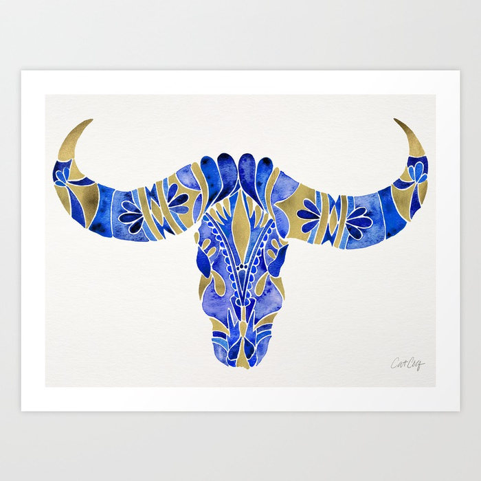 water-buffalo-skull-navy-gold-prints.jpg