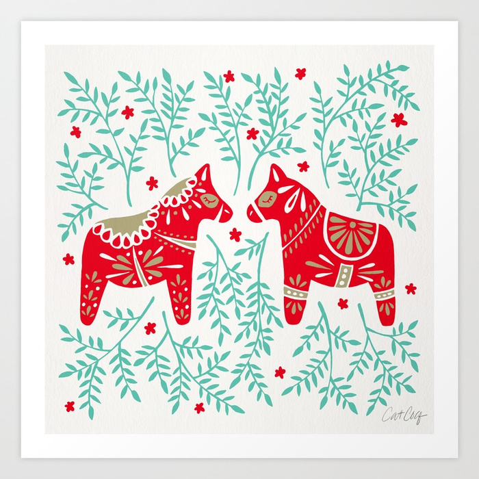 swedish-dala-horses-red-mint-palette-prints.jpg