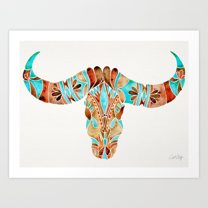 water-buffalo-skull--blue--brown-prints.jpg
