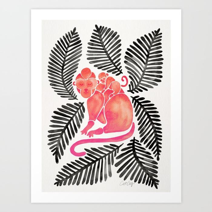 monkey-cuddles-pink-black-palette-prints.jpg