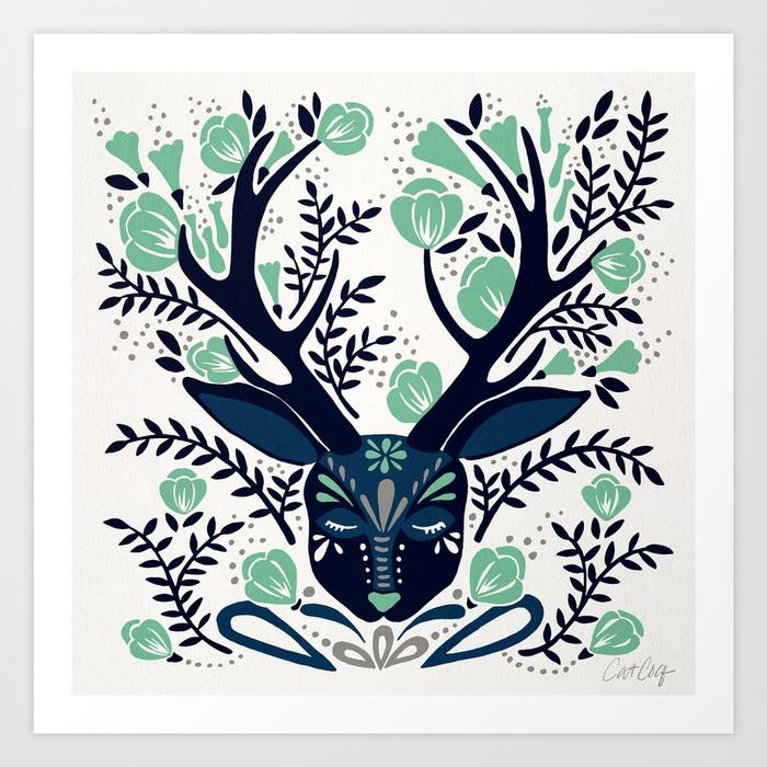 floral-antlers-navy-mint-palette-prints.jpg