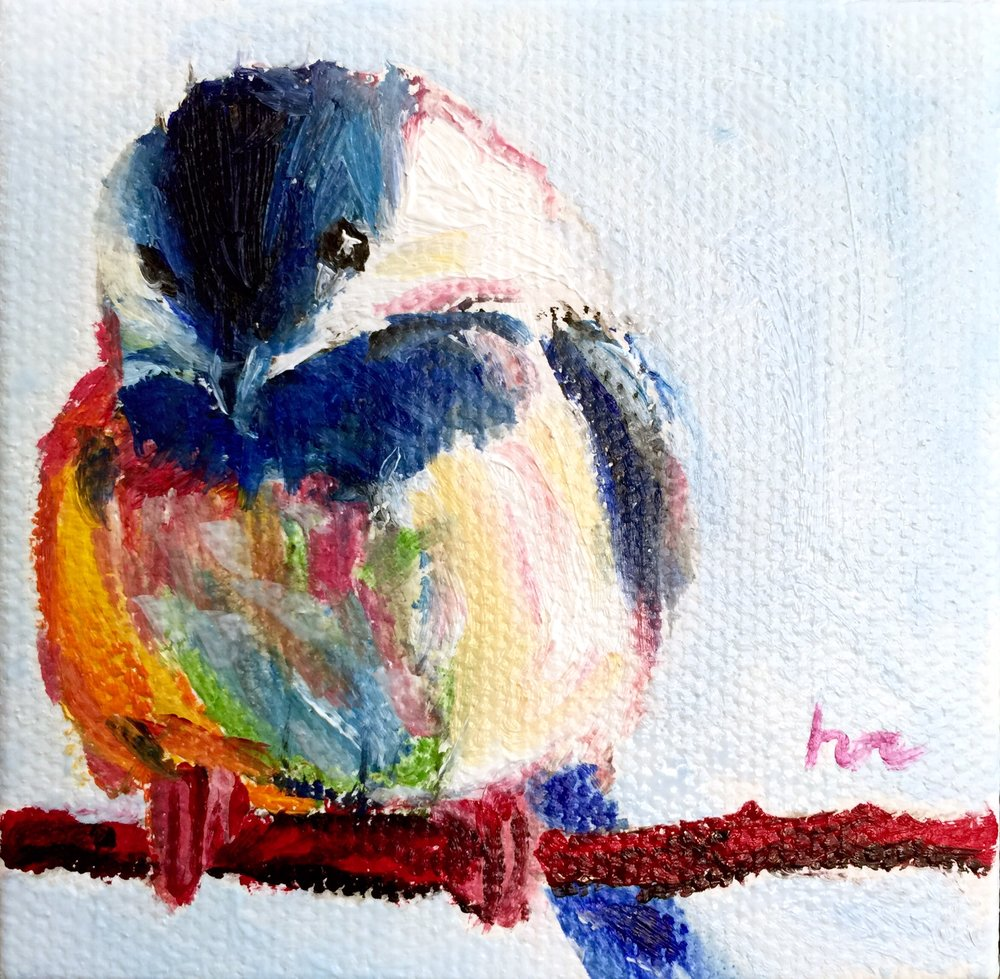 Chickadee Mini Triptych (1 of 3)