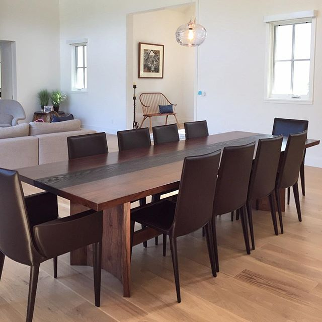 The Fireside Dining Table has safely arrived in Sonoma! Here's a first glimpse...more pics to come!  Many thanks to @plycon_transportation_group for carefully accompanying my baby cross country! Not quite happy hour yet, but I think it's time to give myself a little fizzy reward! 🍾🍾🍾 #jawwoodshop #firesidecollection #tgif #happydeliveryday
