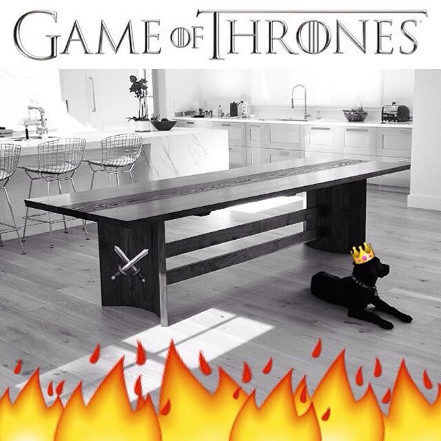My dining table is now under the faithful watch of Jet aka Protector of the Fireside aka Lord of Labs aka the Panting Prince aka Mulchslayer! #jawwoodshop #firesidecollection #customfurniture #gameofthrones