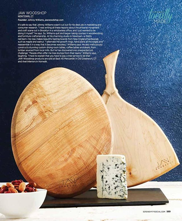 HOT OFF THE PRESSES! JAW Woodshop has been named a winner of Serendipity magazine's 3rd annual Locally Made Awards! I'm so flattered to receive this honor! What a beautiful job they did styling and photographing the Tasting Boards! #jawwoodshop #tastingboards #locallymade #locallymadeawards #serendipity #serendipitymagazine