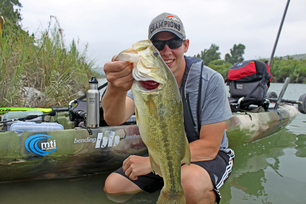 Clint Taylor with a five pound Largemouth Bass caught on the Devils River