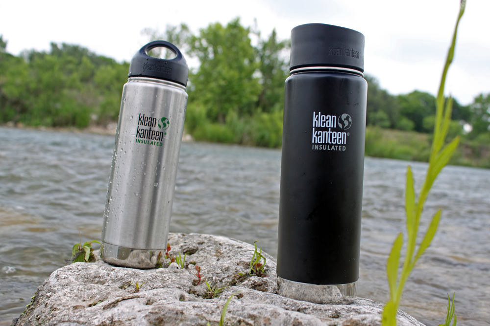 Klean Kanteen Insulated 20 oz. water bottles on the South Llano River