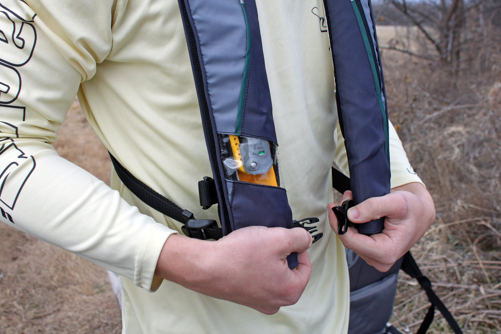 The MTI Adventurewear Helios 2.0 is extremely easy to put on, as there is only one clip to snap shut and you are done.