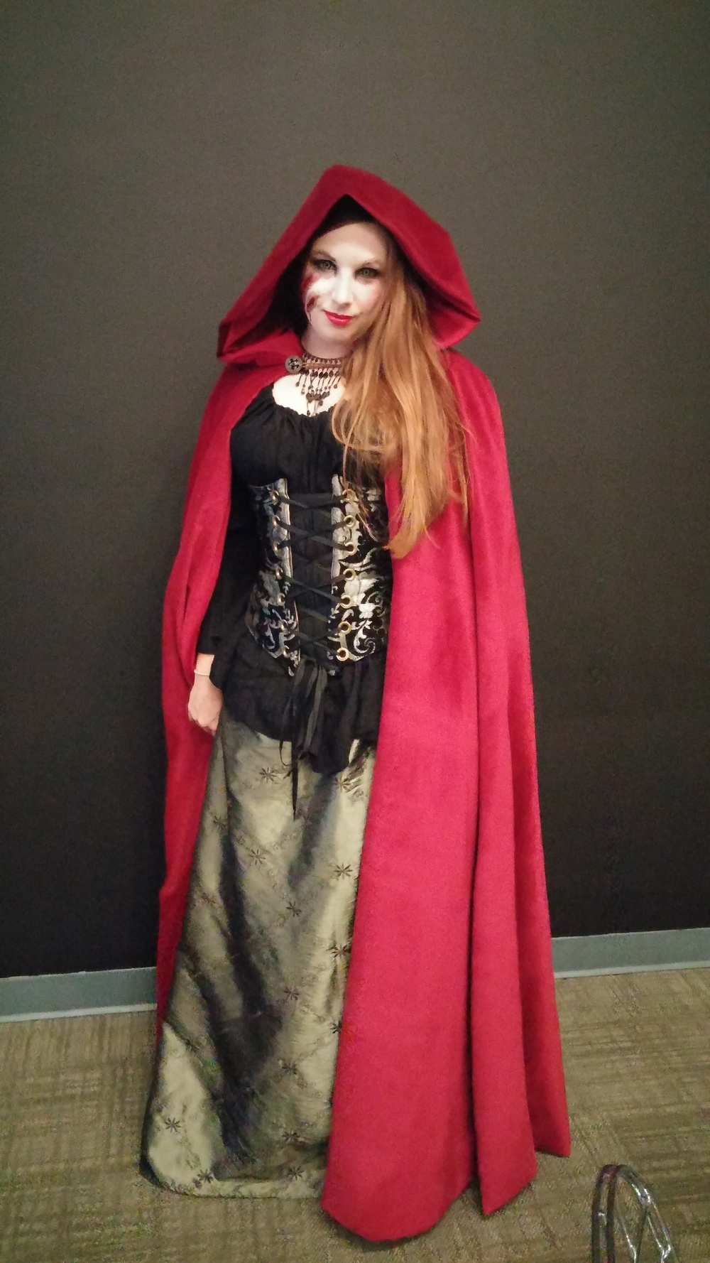 Danielle was Little Red Riding Hood post-wolf attack!