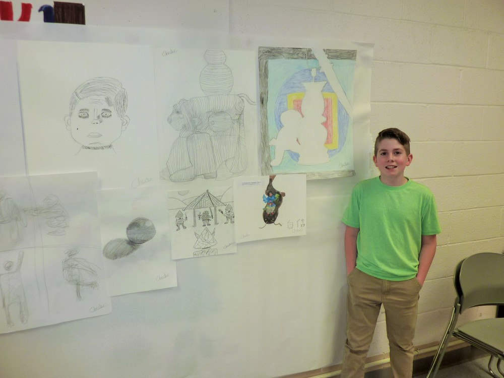 A talented student, Chester, in my drawing fundamentals class