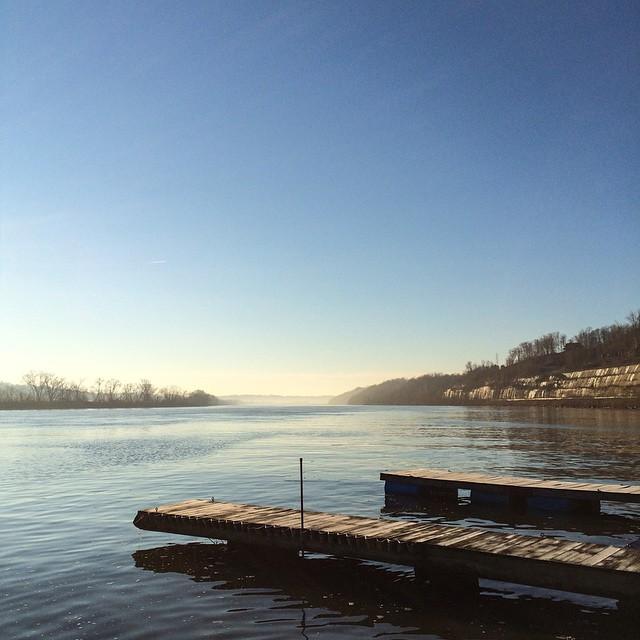 Sunrise and coffee on the Ohio River this morning. Hockingport, Ohio.