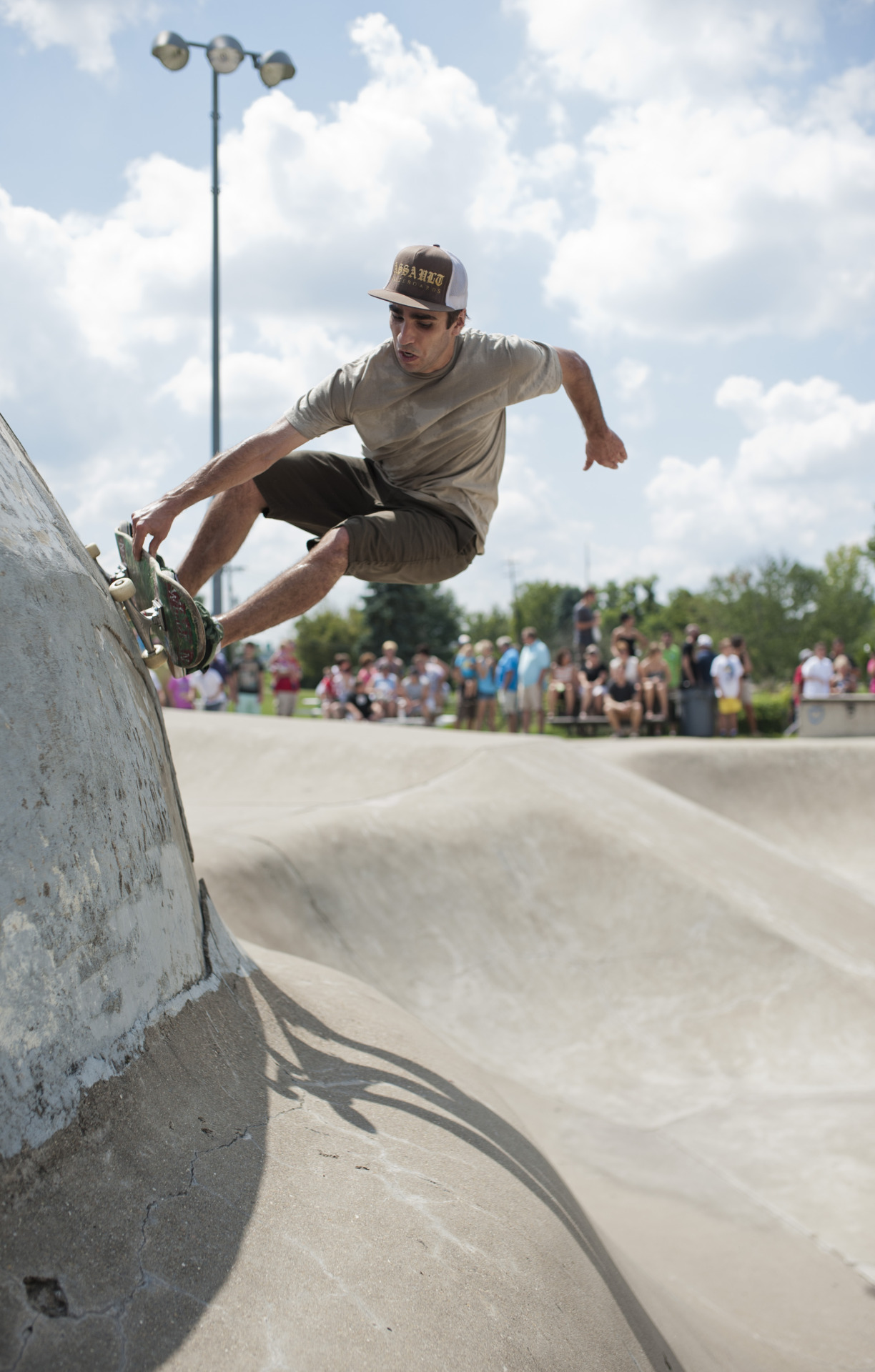 Wildman (Mike Nypaver) ripping at the Birdhouse demo in the Athens County Skatepark. Athens, Ohio.