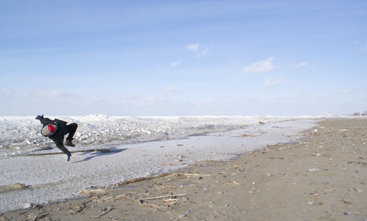 Self Portrait. Headlands Beach, Ohio. January, 2014.