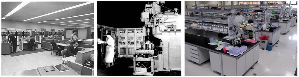 Mainframe computer, the first Numerical Control (NC) machine tool, and a modern biology lab