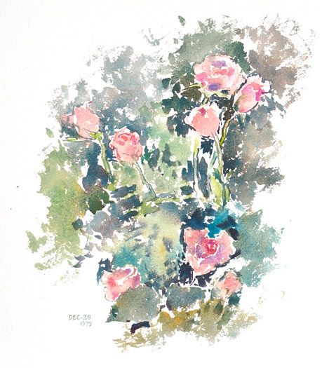 "Reta Cowley, ""Untitled (Roses)"", 1975, Watercolour on paper, 14 5/8"" x 16 1/2"""