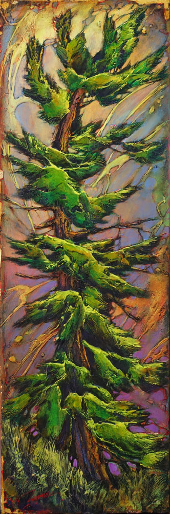 David Langevin, Guilded Fir, 36 x 12 inches