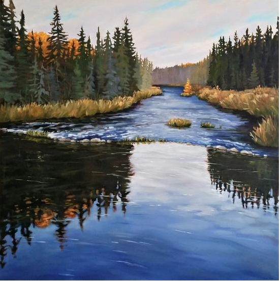 Golden Tamarack on the Riffle, Painting Oil on canvas, 36 x 36 in, Framed, CAD 2,525.00