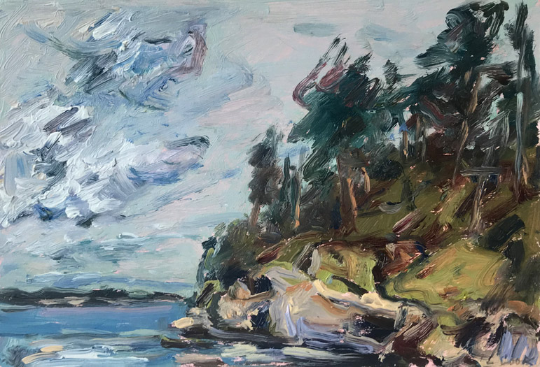 "Louise Cook, ""Northern Point"", LC464 c. 2008, Oil on Matboard, 7-3/4"" x 10-3/4"""