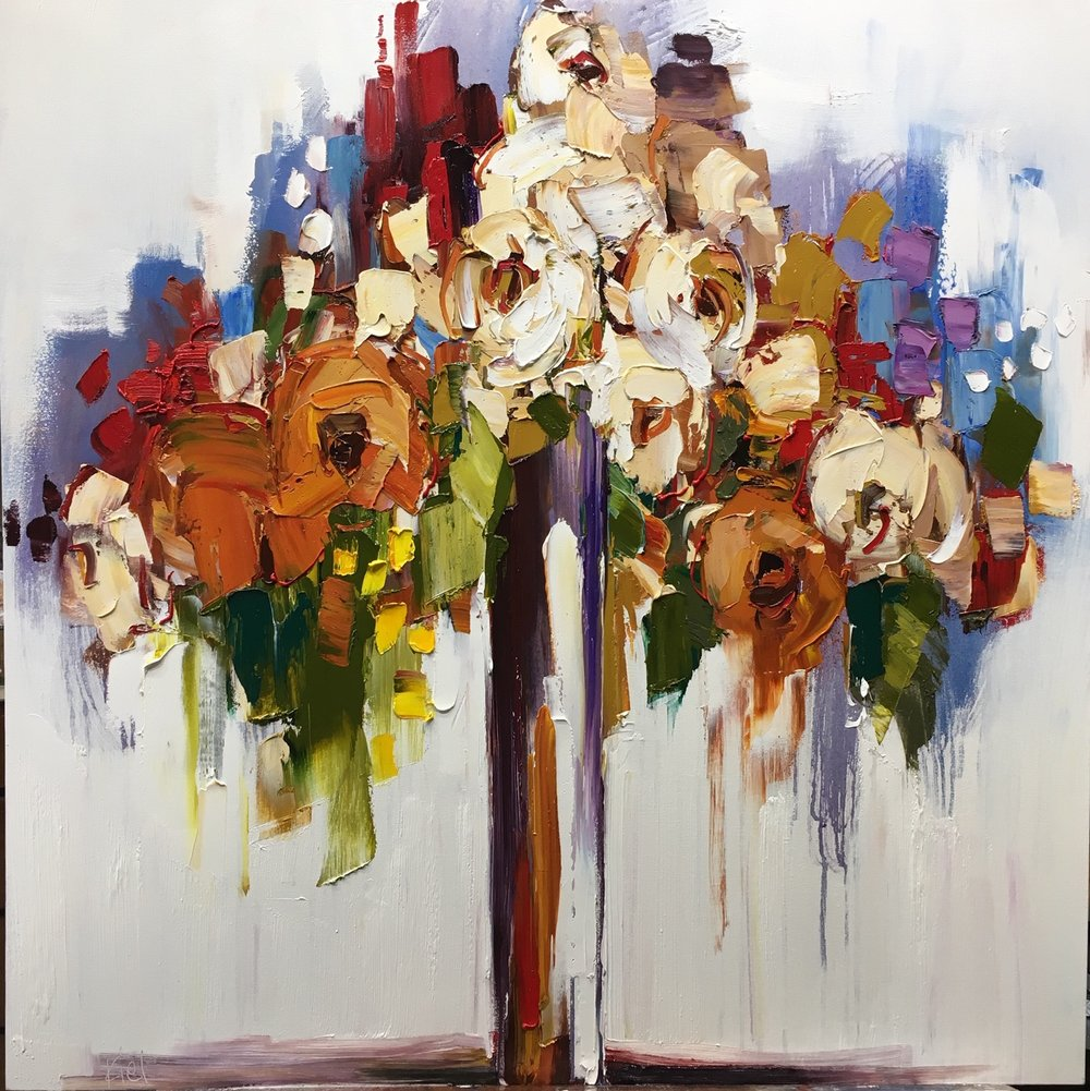 """Silently a Flower Blooms, 36"""" x 36"""""""
