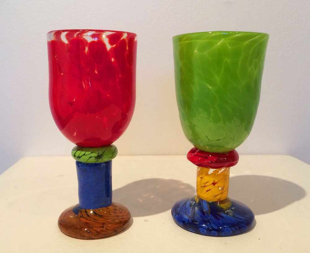 "Bonny Houston, ""Jitterbug Goblet 1 & 2"", blown glass, 18 H x 8 W x 8 D cm, A reference to a Cab Calloway song from 1930's."
