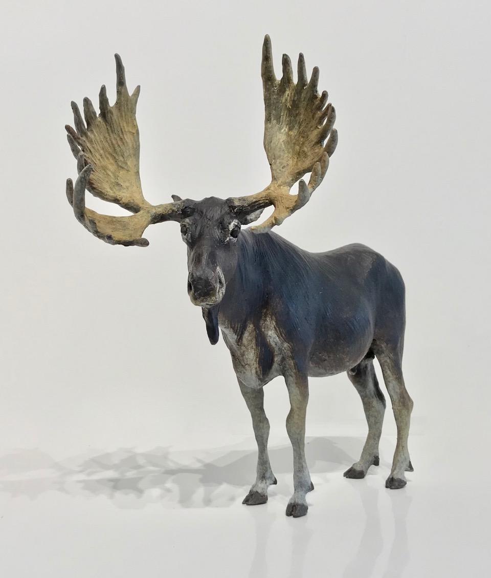 """Joe Fafard,  Bayard Island Moose,  patinated bronze, 2018, 10 x 11 x 5"""" 2 of 9"""