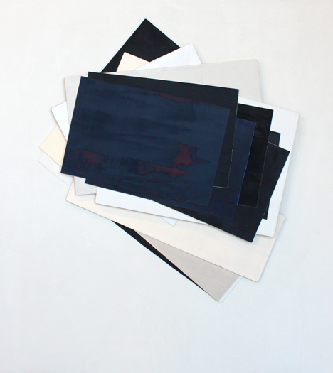 "Robert Christie, ""Center Stack Rotation"", 2017-2018, Acrylic on veneer and heavy card on canvas, 37 1/2"" x 34 1/2"", $5,050.00 Framed"