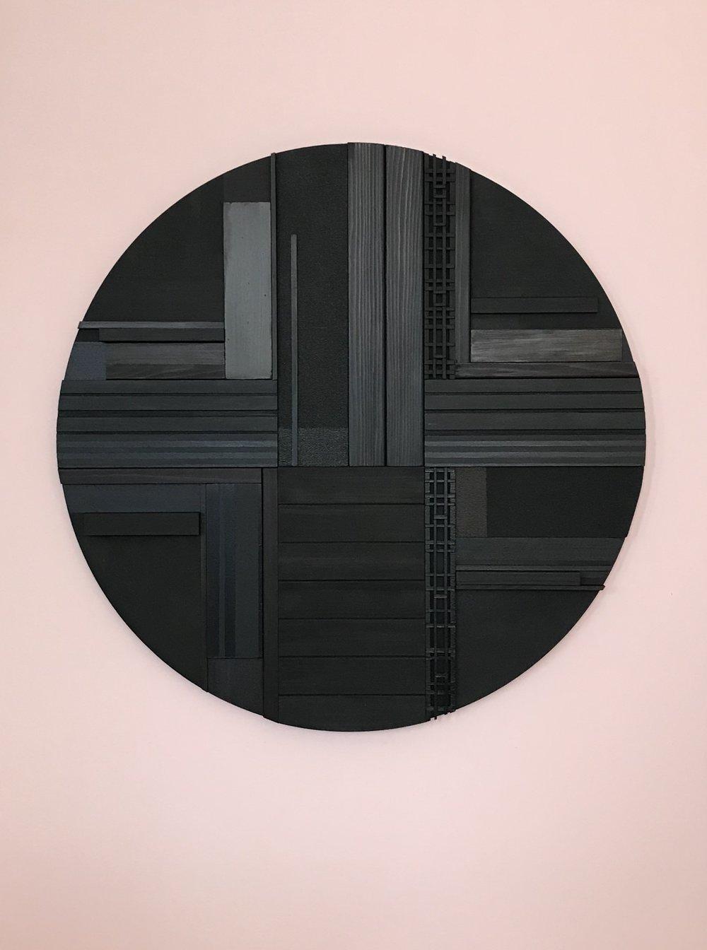 "Cameron McKay, ""Hunk"", CMK014, 2019, Acrylic,charred cedar,mdf on canvas, 40"" x 30"", $1,540.00 Unframed (+ taxes)"