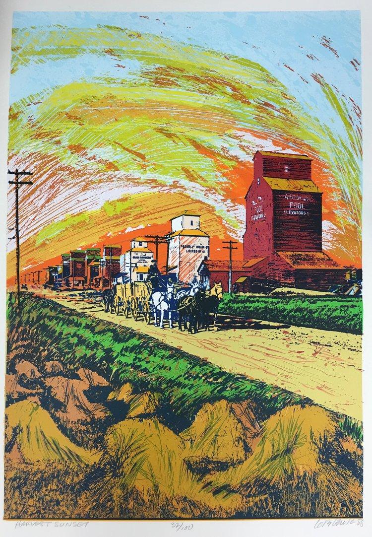 "Bill Lobchuk, ""Harvest Sunset"", screen print, 29 5/8 x 20 1/4 "" , edition 54 of 100, 1988, $700 CAD"