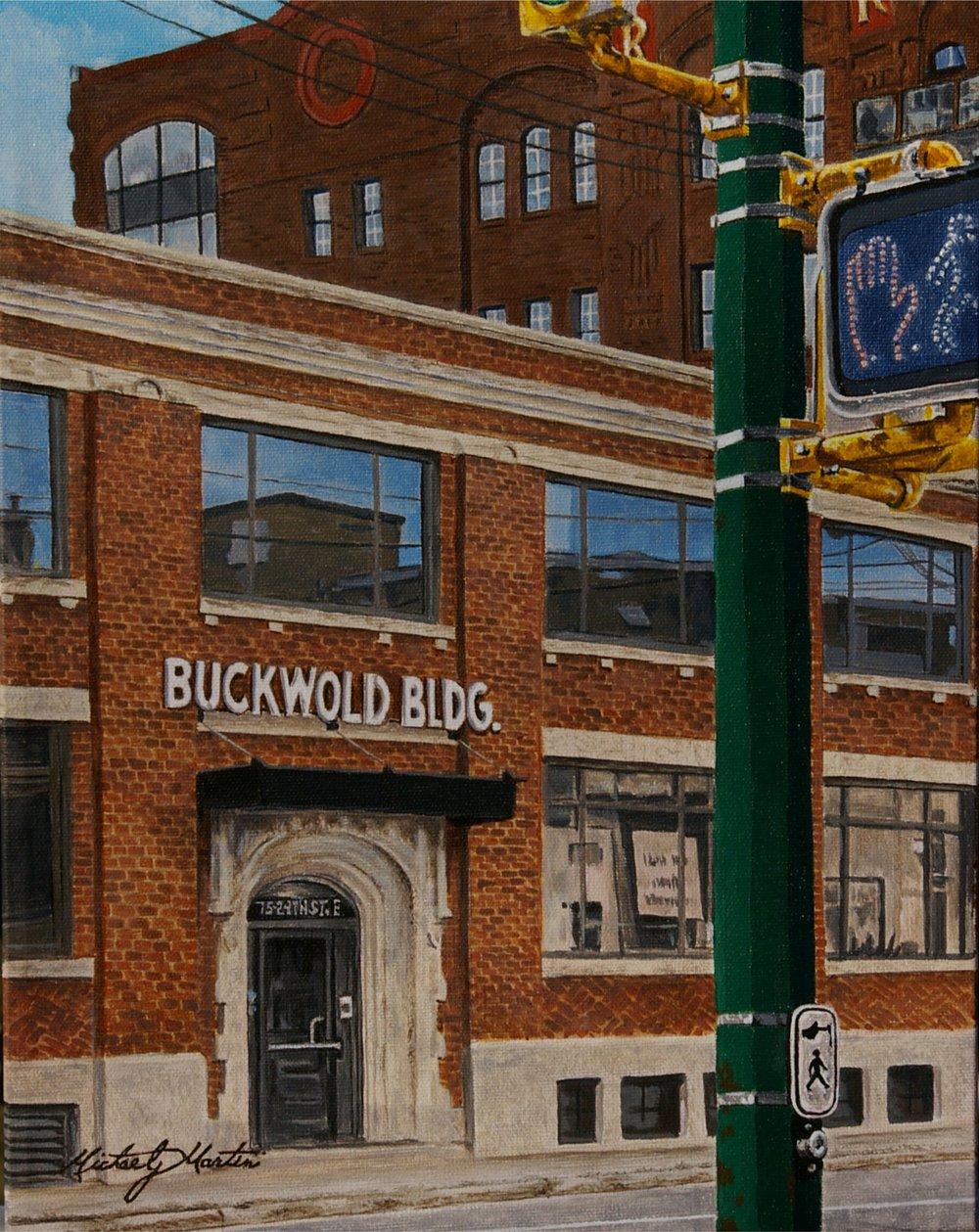 "Michael J. Martin, ""Buckwold Building (Saskatoon Sk. Canada)"", 11 x 14, acrylic on canvas, $400.00"