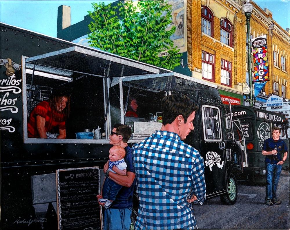 "Michael J Martin, ""Tex Mex at the Fringe (Saskatoon Fringe Festival"", 20x16, acrylic on canvas, $500.00"