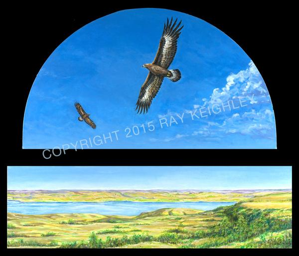 Eagles Over Beechy Coulees by Ray Keighley, 48x 14 and 24x43, acrylic on canvas, $1850 (two parts, unframed)