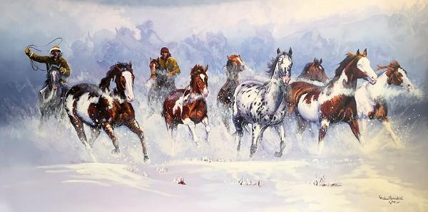 """Michael Lonechild, """"Painted Pony"""", 48x24 LE giclee on canvas, $595.00"""