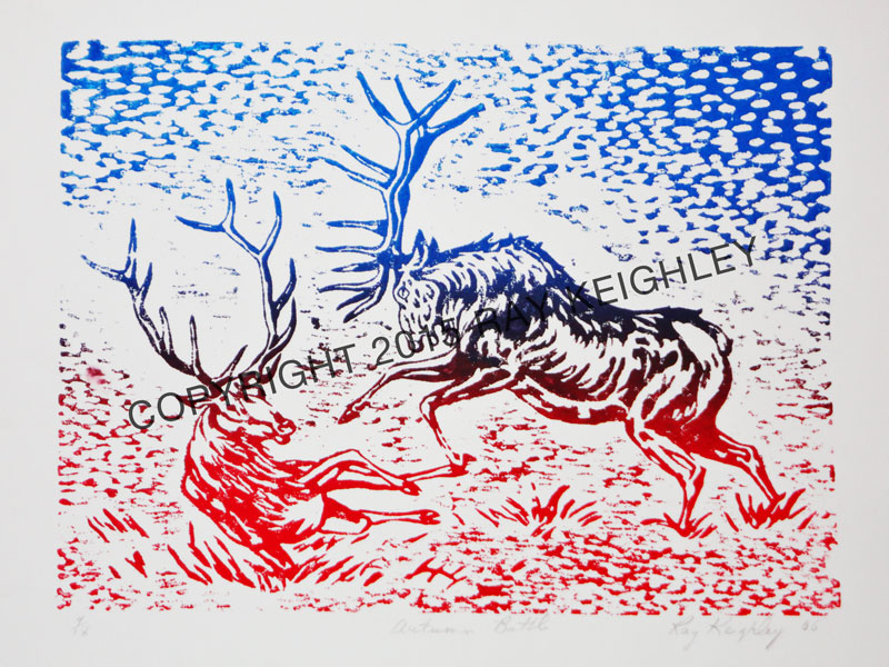 """Ray Keighley, """"Autumn Battle"""", 9""""x12"""", linocut on paper, $485.00"""