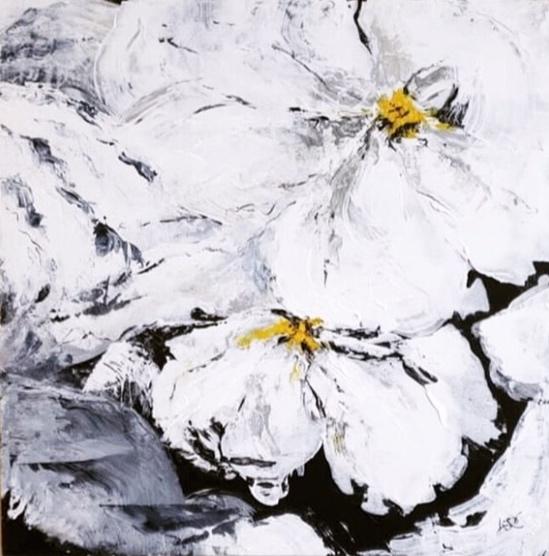 "Joleen Claypool, ""botanical"", 24""x24"", acrylic on boxed wood, $275"