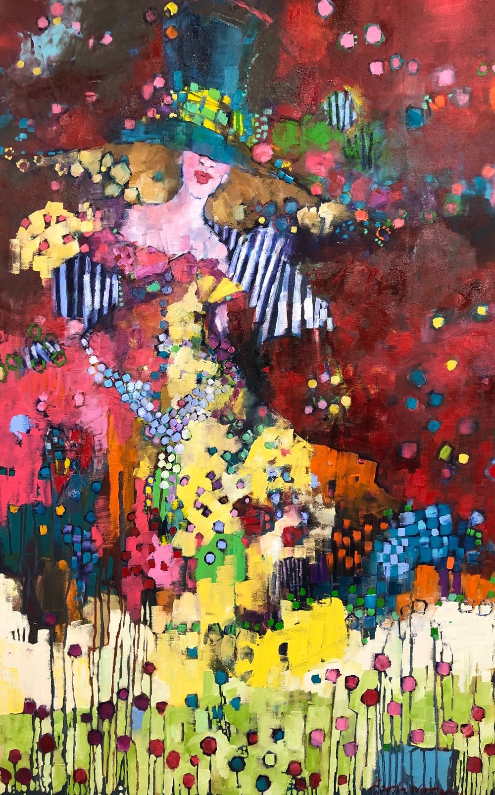 "Angela Morgan, 'promises that become rituals within themselves"", 60'x36"", oil on canvas, $6095 framed"