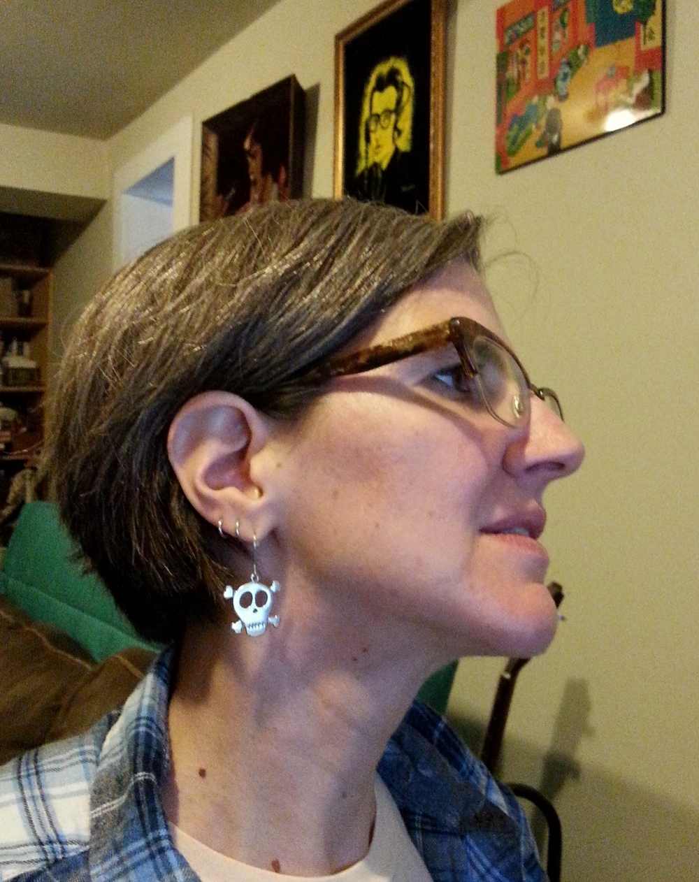 Wearing my Skull and Crossbones Earrings