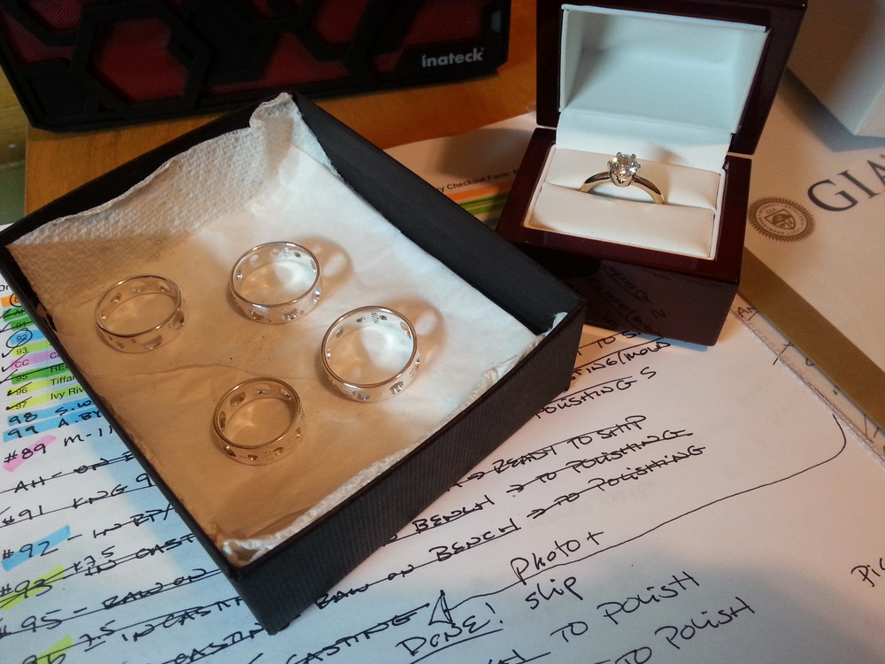 A peek at the last rings shipping out, and my notes. There is a method to my madness!
