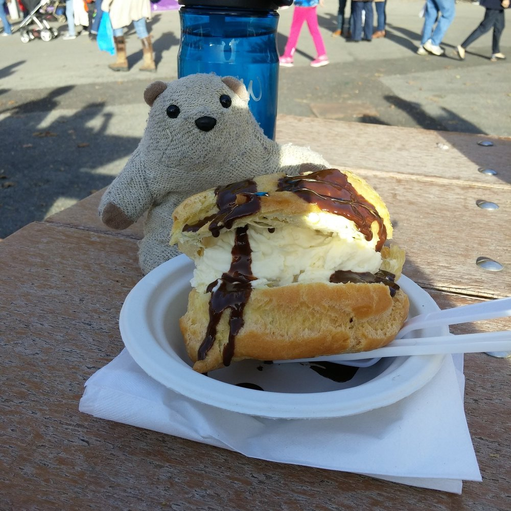 That is one seriously huge (and delicious) cream puff.