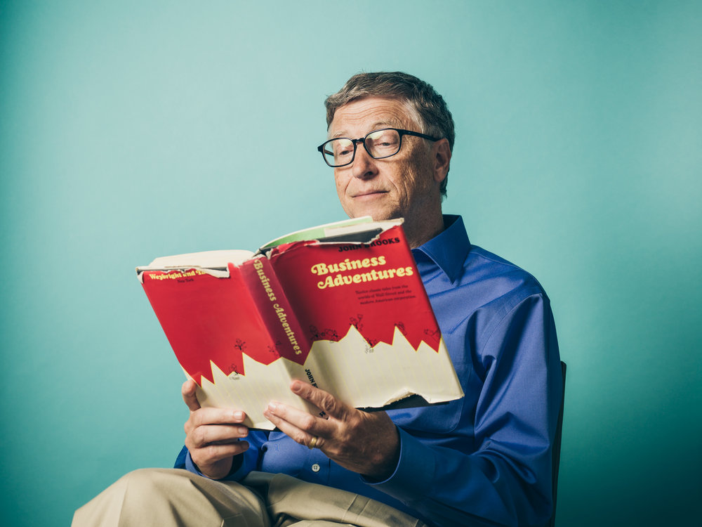 Bill Gates reading his favorite business book, Business Adventures by John Brooks.  Shot for The Wall Street Journal.  The book in this picture was lent to Bill by Warren Buffett 20 years ago, and Bill still has it.  Just borrowing it of course.  This WSJ article took Business Adventures from being relatively unknown for 45 years to a best seller practically overnight.
