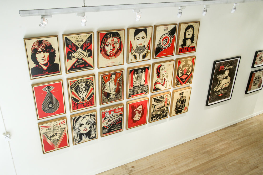 Treason Gallery presents 'Printed Matters' an exhibition by Shepard Fairey (Obey Giant) for August First Thursday Artwalk in Pioneer Square Seattle, WA 2017. Seattle Art Fair