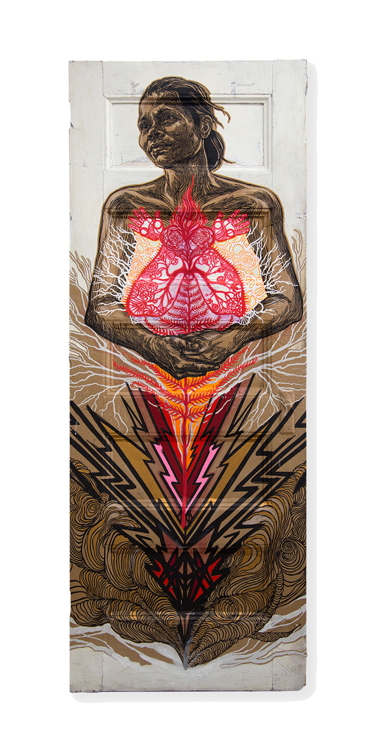 "Swoon Inventory #437   Sonia  (2016) Block print, paper cuts, and acrylic gouache on paper and wood 30"" x 82"" x 1.5"""