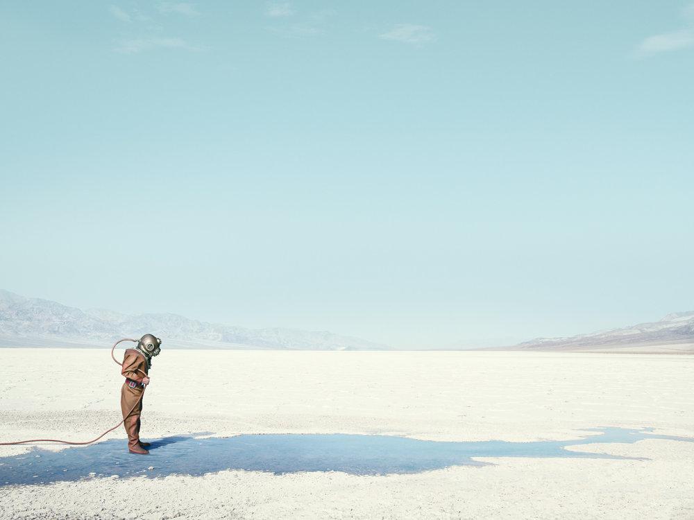 "John Keatley  Diver In The Desert  (2016) Archival print on Legacy Baryta Edition of 5 59"" x 44.5"" - framed"