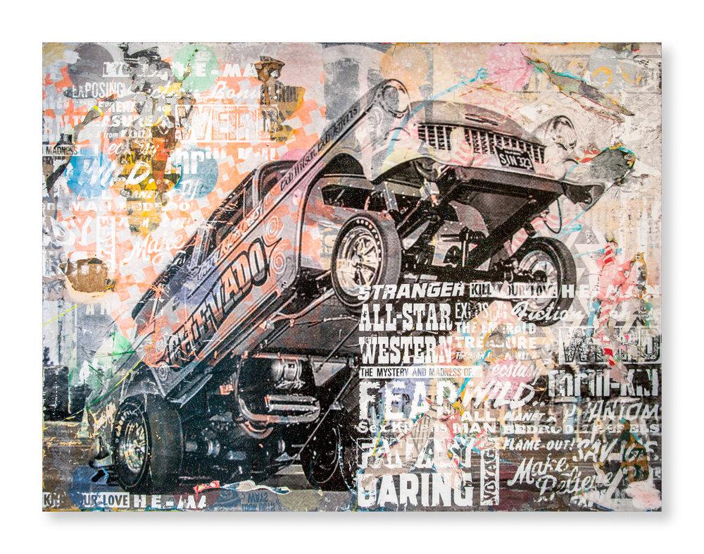 "Duffyleg  Chevado  (2015) Mixed media on wood panel 48"" x 36""  INQUIRE"